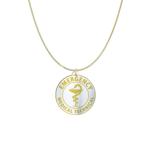 Image of Medical ID Sterling Silver or Gold Necklace pendant Gold Plated Sterling Silver (1in)