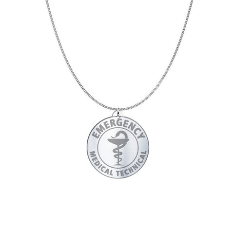 Image of Medical ID Sterling Silver or Gold Necklace pendant Oxidized Sterling Silver (1in)