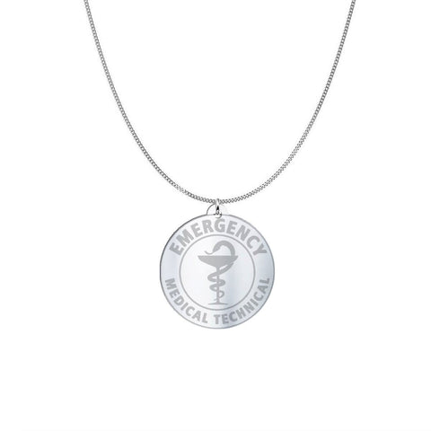 Image of Medical ID Sterling Silver or Gold Necklace pendant Sterling Silver (1in)