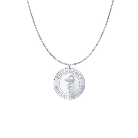 Image of Medical ID Sterling Silver or Gold Necklace pendant Sterling Silver (3/4in)