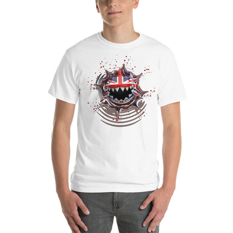 United Kingdom Flag. Patriotic Shark. Short Sleeve Cotton T-Shirt