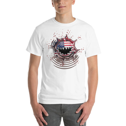 USA Flag. Stars and Stripes. Patriotic Shark. Unisex Short Sleeve Cotton Gildan T-Shirt