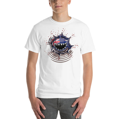 Australia Flag. Patriotic Shark. Unisex Short Sleeve Cotton Gildan T-Shirt