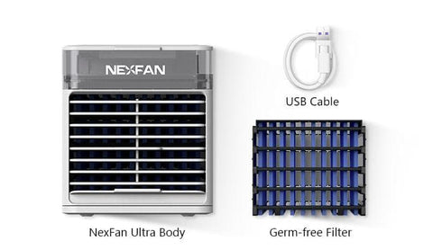 Image of NexFan Ultra. It cools, humidifies, purifies, disinfects, and soothes