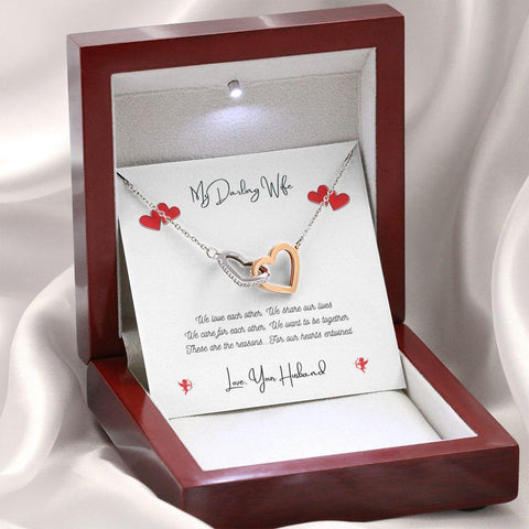 Personalized. Hearts Entwined Interlocking Heart Crystal Necklace Jewelry
