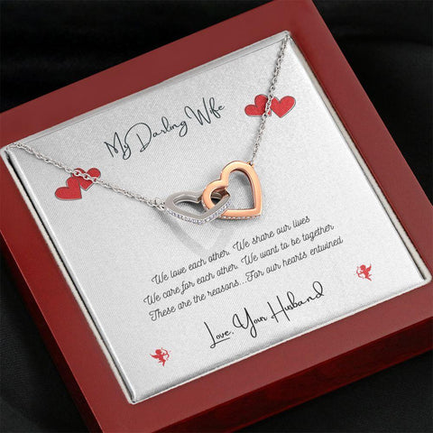 Personalized. Hearts Entwined Interlocking Heart Crystal Necklace Jewelry Mahogany Style Luxury Box