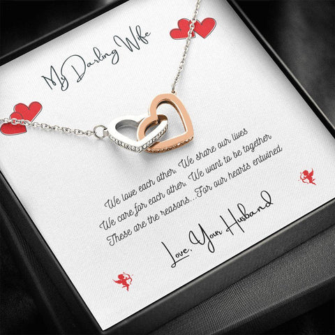 Personalized. Hearts Entwined Interlocking Heart Crystal Necklace Jewelry Standard Box