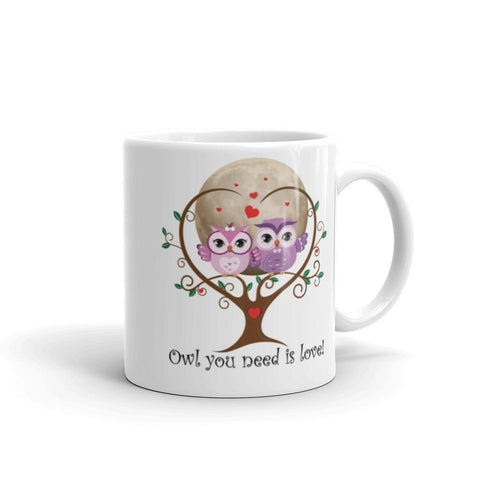 Image of Personalized 'Owl (All) You Need Is Love'. Valentine's Day or Anniversary. Coffee & Tea Mug. Mugs 11oz