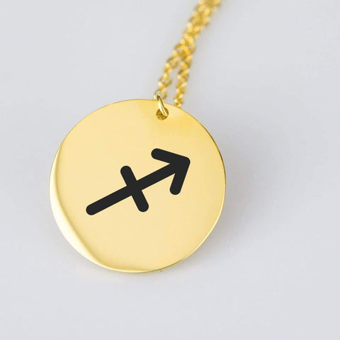 Sagittarius Astrological Star Sign Pendant Charm and Necklace pendant Gold Plated Stainless Steel