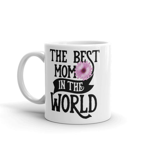 Image of The Best Mom in The World. Purple Flower Tea or Coffee Mug