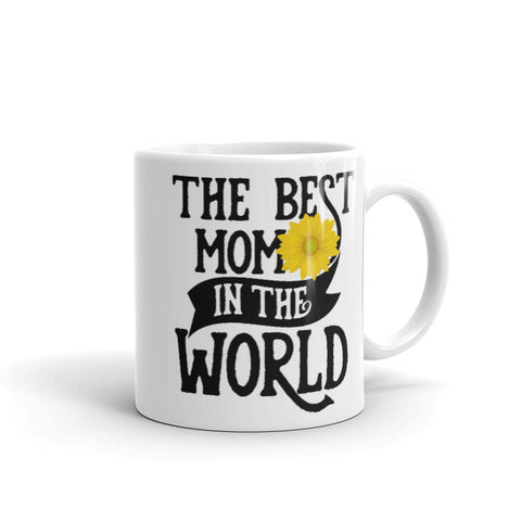 The Best Mom in The World. Yellow Flower Tea or Coffee Mug