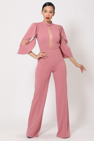 Semi Sheer Mesh Contrast Bodice Jumpsuit - RisaRose Luxury Shop