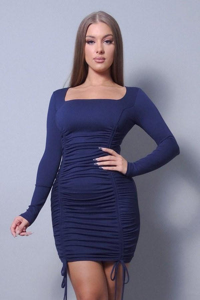 Sexy & Chic Long Sleeve Square Neck Ruching Tie Basic Dress - RisaRose Luxury Shop