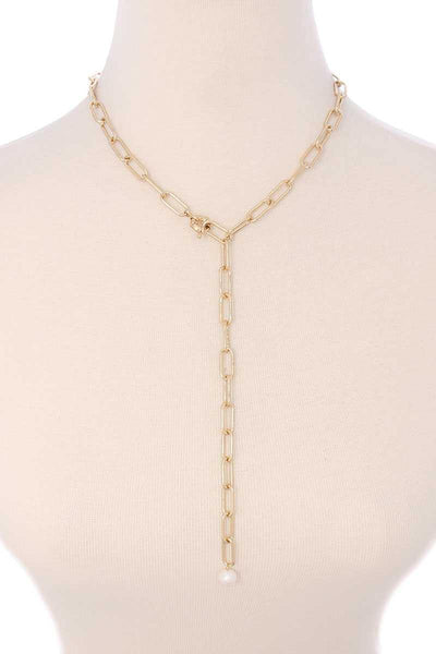 Metal Chain Y Neck Pearl Dangle Necklace - RisaRose Luxury Shop