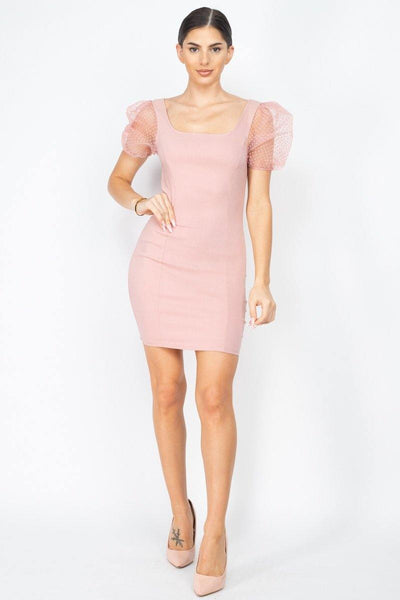 Sheer Puff Sleeves Mini Dress - RisaRose Luxury Shop