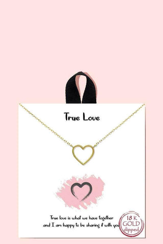 18k Gold Rhodium Dipped True Love Pendant Necklace - RisaRose Luxury Shop