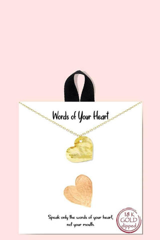 18k Gold Rhodium Dipped Words Of Your Heart Necklace - RisaRose Luxury Shop