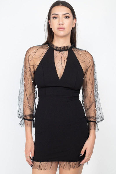 Pearl Trim Mesh Bodycon Dress - RisaRose Luxury Shop