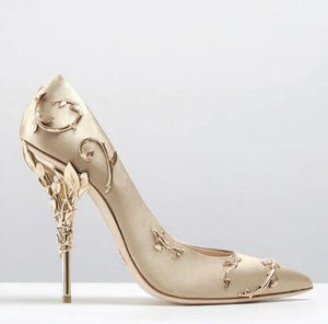 Elegant Silk Women Leaves Heel High Heels - RisaRose Luxury Shop