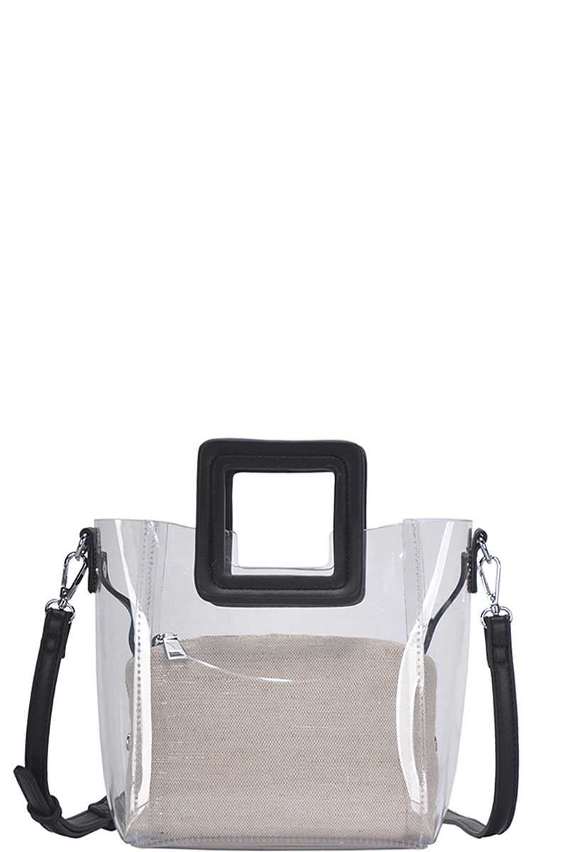 RisaRose Luxury Shop 2in1 Transparent Satchel With Long Strap