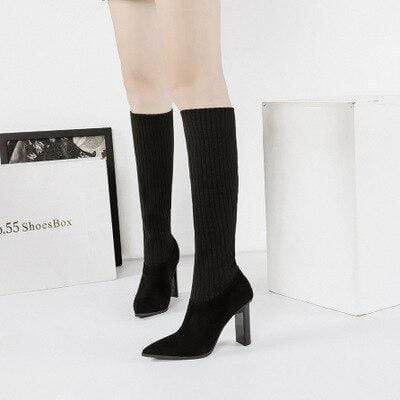 RisaRose Luxury Shop Black / 3 Thin High-Heeled Boots