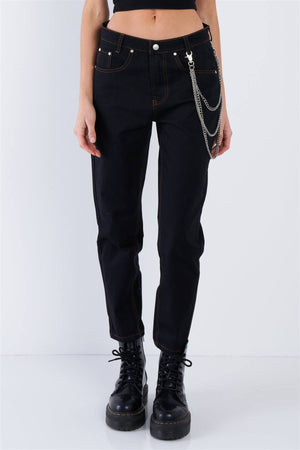RisaRose Luxury Shop Black Casual Denim Boot Cut Jeans