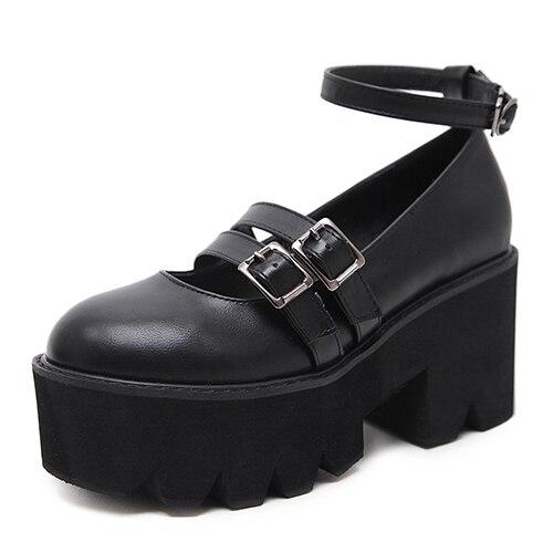 RisaRose Luxury Shop black shoes / 4.5 High Chunky Heels Platform