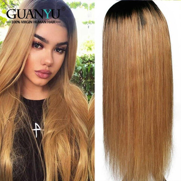 Blonde Lace Front 13*4 Brazilian Remy Straight Colored Wigs 150% Density - RisaRose Luxury Shop