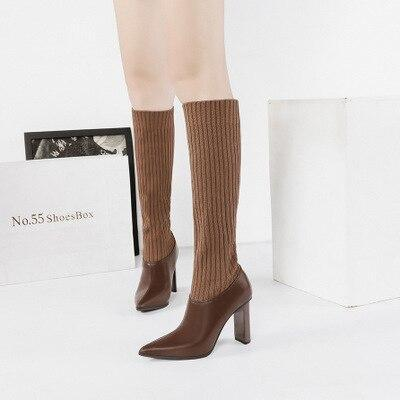 RisaRose Luxury Shop Brown / 3 Thin High-Heeled Boots