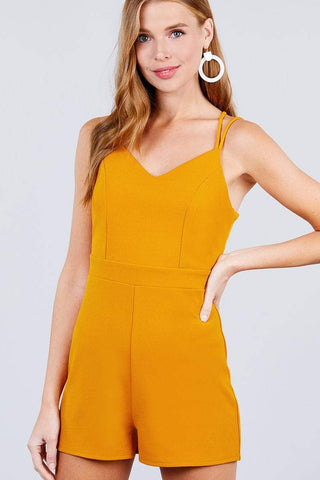 Cross Strap Cami Princess Line Romper - RisaRose Luxury Shop