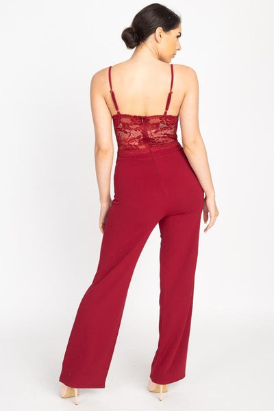 Floral Lace Front Cutout Jumpsuit - RisaRose Luxury Shop
