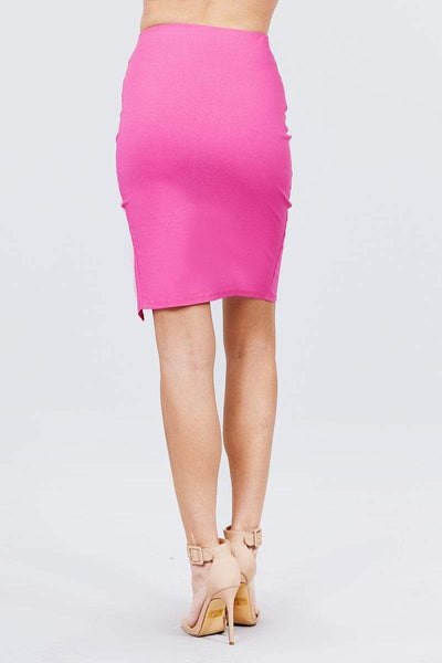 Front Slit Bengaline Midi Skirt - RisaRose Luxury Shop