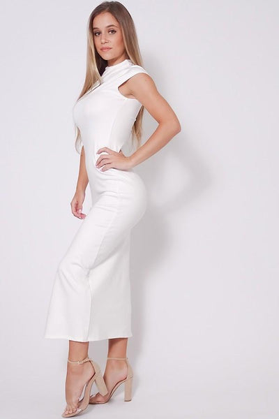 High Neck Cap Sleeve Slitted Basic Midi Dress - RisaRose Luxury Shop