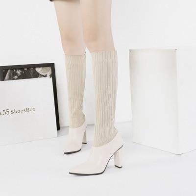 RisaRose Luxury Shop Ivory / 3 Thin High-Heeled Boots