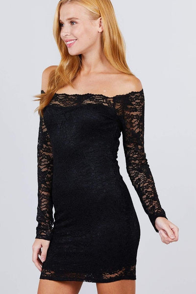 Long Sleeve Scallop Off Shoulder Lace Mini Dress - RisaRose Luxury Shop