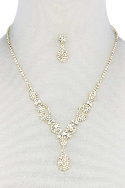 Rhinestone Teardrop Shape Necklace - RisaRose Luxury Shop