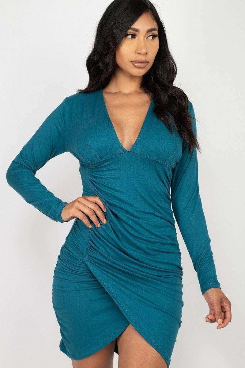 Ruched Wrap Bodycon Dress - RisaRose Luxury Shop