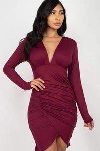 RisaRose Luxury Shop Ruched Wrap Bodycon Dress