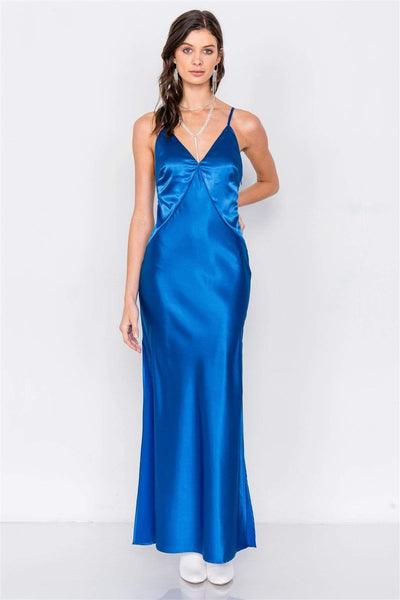 Satin Elegant Double Slit Sleeveless Maxi Dress - RisaRose Luxury Shop