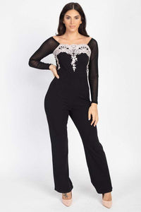 Self Tie Lace Embroidered Jumpsuit - RisaRose Luxury Shop