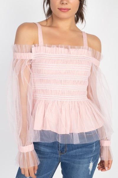 Sheer Mesh Open Shoulder Top - RisaRose Luxury Shop
