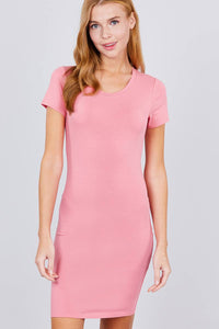 Short Sleeve Round Neck Knit Mini Dress - RisaRose Luxury Shop