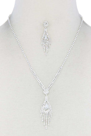 Rhinestone Dangle Pendant Necklace - RisaRose Luxury Shop