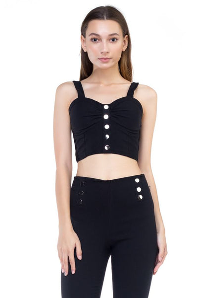 Sweetheart Button Down Crop Top - RisaRose Luxury Shop