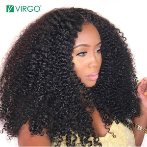 RisaRose Luxury Shop Virgo Mongolian Afro Kinky Curly Wig Natural 1B Lace Front Human Hair Wigs For Black Women Pre Plucked 150 Density Remy Wigs