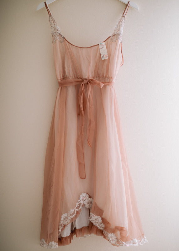 e40fadfe081 Romantic Vintage 1950s Kayser Bridal Nightgown in Amazing Blush with Ivory Lace  ORIGINAL TAG Attached Crazy Beautiful
