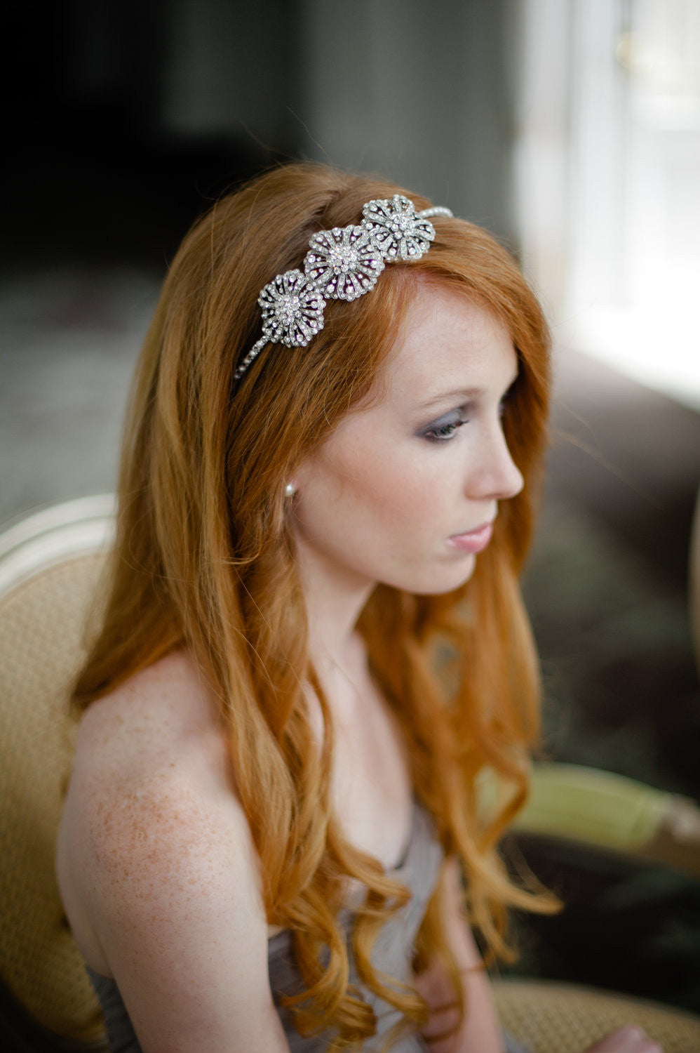 Wedding Rhinestone Headbands bridal headband with rhinestone flower and swarovski pearls flowers pearls