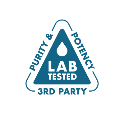 Third Party Lab Tested for purity and potency branded icon badge