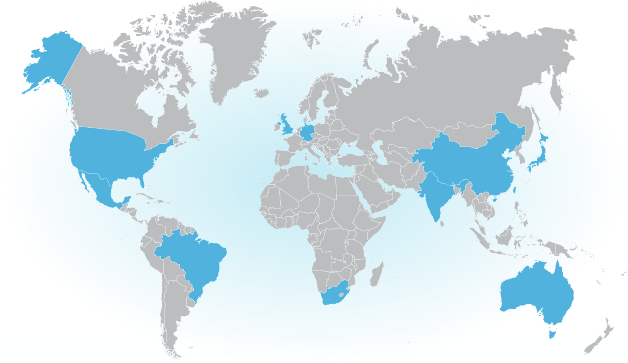 World map in gray highlighting select countries in blue: USA, Mexico, Brazil, UK, Germany, South Africa, India, China, Taiwan, Japan, Australia