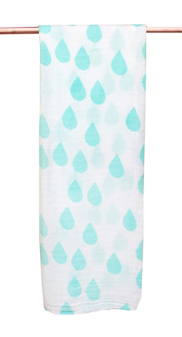 Bamboo/cotton muslin wrap - Waterfall Print